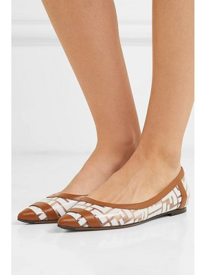Fendi colibri leather-trimmed logo-print pvc point-toe flats