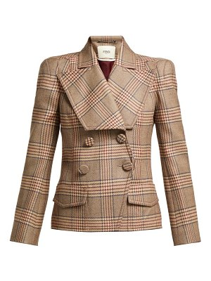 Fendi double breasted checked wool blazer
