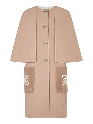 Fendi double-faced wool karligraphy shearling-pocket cape-effect coat