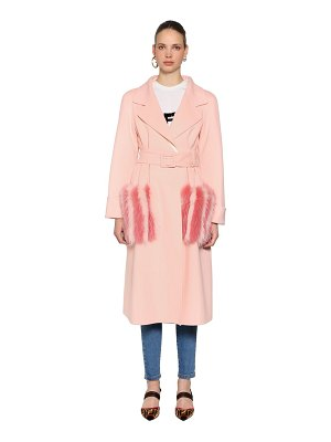 Fendi Double wool coat with fur pockets