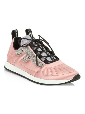 Fendi embellished satin sneakers