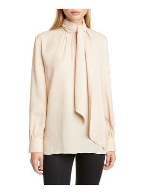 Fendi embroidered scarf neck silk blouse