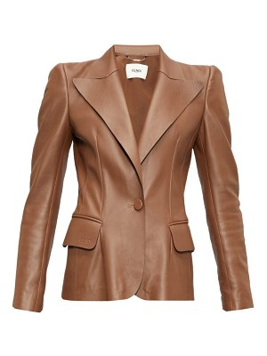 Fendi exaggerated-shoulder tailored leather jacket