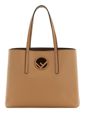 Fendi F Logo Calf Leather Shopping Tote Bag