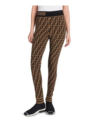 Fendi f logo knit leggings