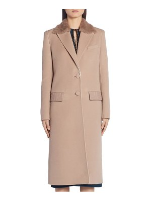 Fendi ff logo double face cashmere coat with removable genuine mink fur collar
