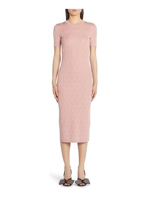 Fendi ff logo jacquard cotton blend sweater dress