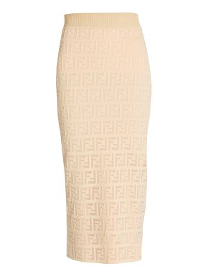 Fendi ff sheer logo knit midi pencil skirt