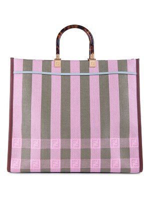 Fendi ff striped straw shopper