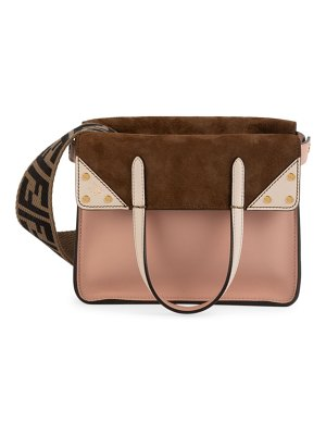 Fendi flip leather & suede crossbody bag