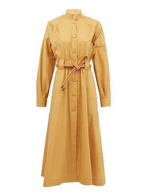 Fendi gathered cotton-poplin shirt dress