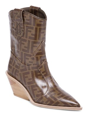 Fendi heeled logo leather cowboy boots