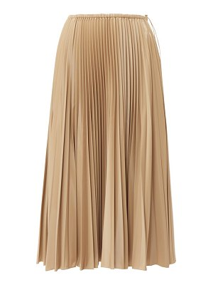 Fendi high rise pleated satin midi skirt