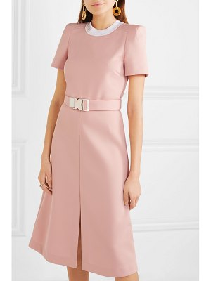 Fendi intarsia-trimmed belted grain de poudre midi dress
