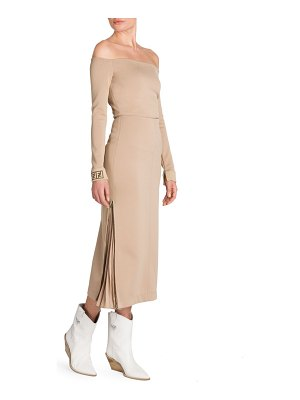 Fendi jersey off-the-shoulder midi dress