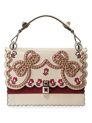 Fendi Kan I Medium Bow Embroidered Shoulder Bag