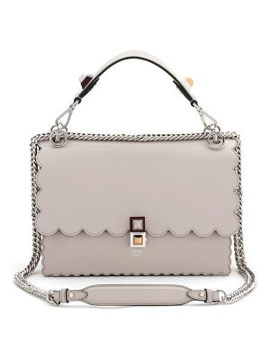 Fendi kan i scallop leather shoulder bag
