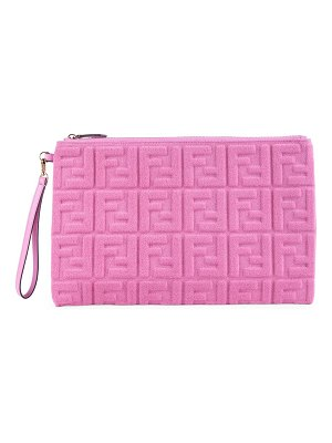 Fendi large ff 1974 embossed terry clutch