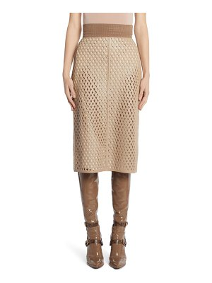Fendi leather mesh pencil skirt