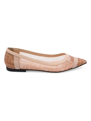 Fendi leather-trimmed mesh flats