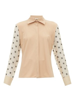 Fendi logo embroidered organza sleeve shirt