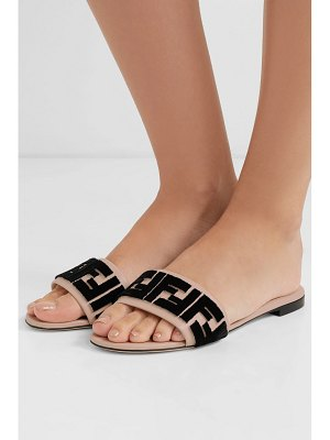Fendi logo-flocked leather slides