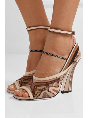 Fendi logo-print appliquéd mesh and neoprene sandals