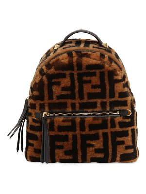 Fendi Logo printed shearling backpack