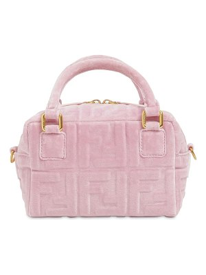 Fendi Mini boston embossed ff velvet bag