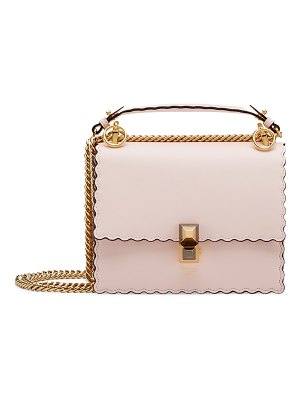 Fendi mini kan i scalloped leather shoulder bag