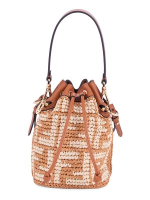Fendi mini mon tresor ff raffia bucket bag