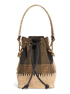 Fendi mini mon tresor jacquard raffia bucket bag