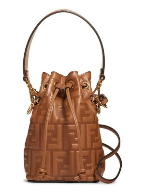 Fendi mini mon tresor logo leather bucket bag