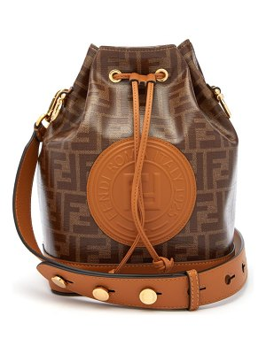 Fendi mon tresor ff jacquard leather bucket bag