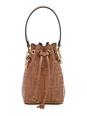 Fendi Mon Tresor Mini FF-Embossed Leather Bucket Bag