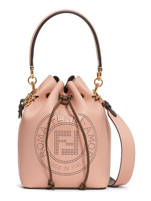 Fendi mon tresor perforated logo leather bucket bag