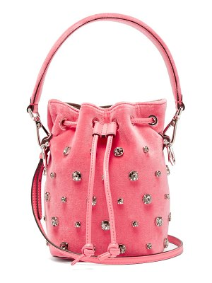 Fendi My Secrets Crystal Embellished Velvet Bucket Bag