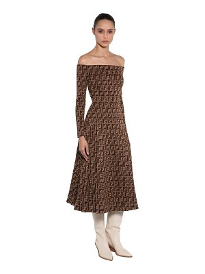 Fendi Off the shoulder printed jersey dress