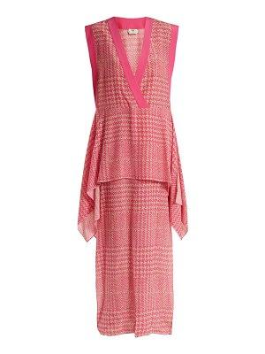 Fendi Prince Of Wales Checked Print Silk Crepe Dress