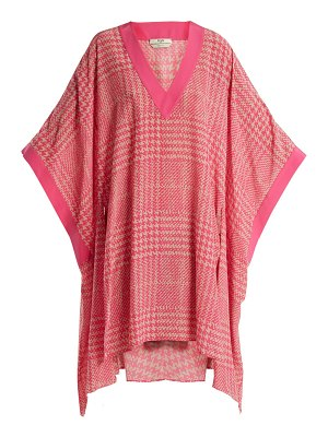Fendi Prince of Wales-checked print silk-crepe kaftan