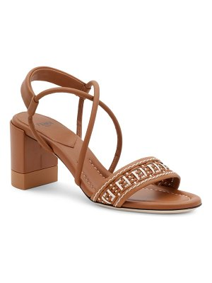 Fendi raffia strap leather block-heel sandals