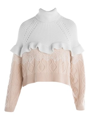 Fendi ruffle & lace cable knit turtleneck sweater