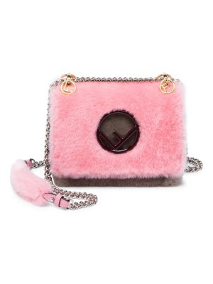 Fendi small colorblock shearling crossbody bag