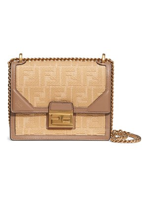 Fendi small kan u raffia shoulder bag