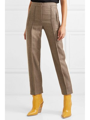 Fendi striped silk-trimmed fleece wool-blend straight-leg pants