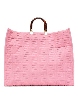 Fendi sunshine ff-embossed cotton-towelling tote bag