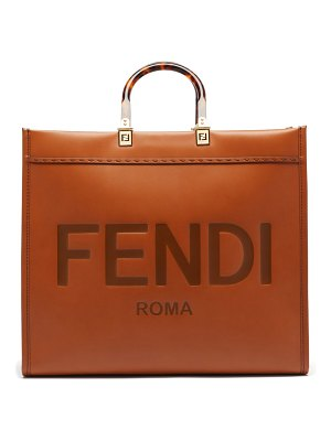 Fendi sunshine logo-debossed leather tote bag