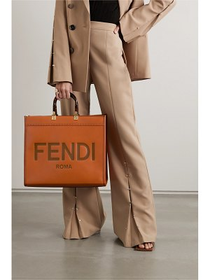 Fendi sunshine shopper logo-embossed leather tote