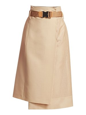 Fendi wool & mohair-blend perforated wrap a-line skirt