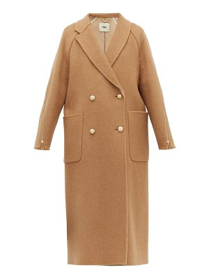 Fendi zip-panel camel-hair coat